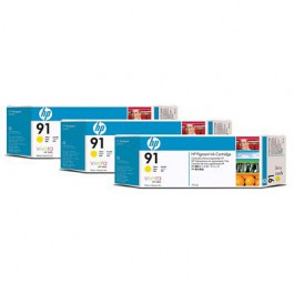 HP Tinte Multipack Nr. 91 C9485A Yellow, 3x 775 ml