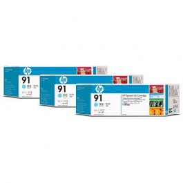 HP Tinte Multipack Nr. 91 C9486A Light Cyan, 3x 775 ml