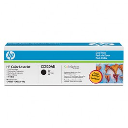 HP Toner (2x) Schwarz CC530AD für Color LaserJet CP2025 CM2320, 2x 3k5