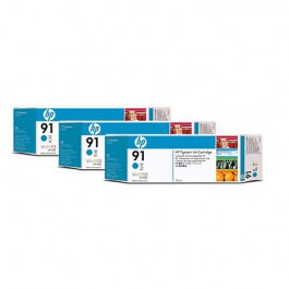 HP Tinte Multipack Nr. 91 C9483A Cyan, 3x 775 ml
