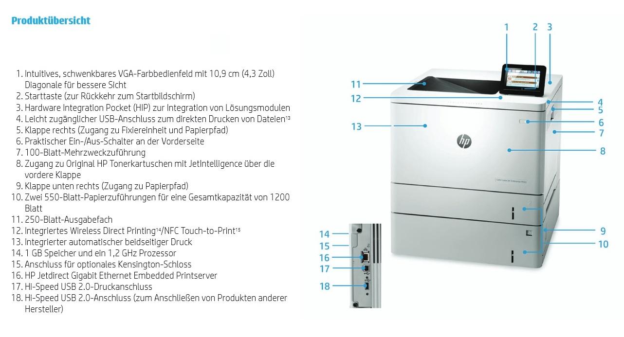 HP Color LaserJet Enterprise M553x Produktübersicht