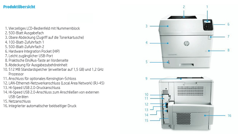 HP LaserJet Enterprise M604dn Features