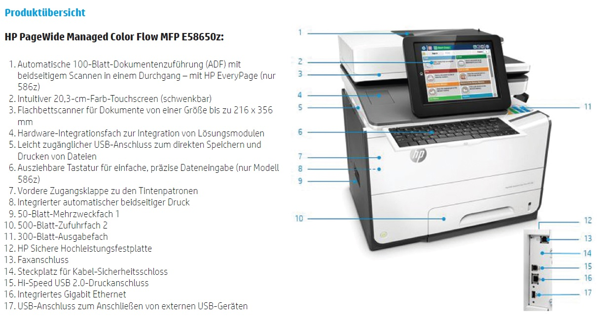 HP PageWide Managed Color Flow MFP E58650z Features