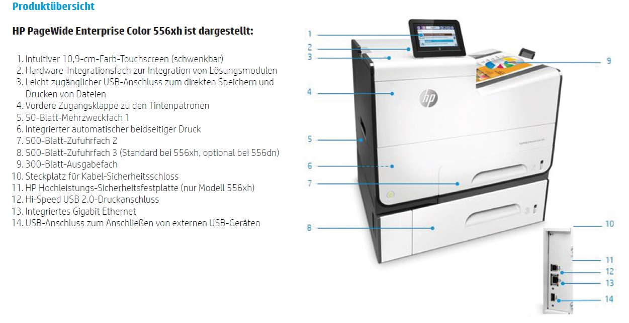 HP PageWide Enterprise Color 556xh Produktübersicht