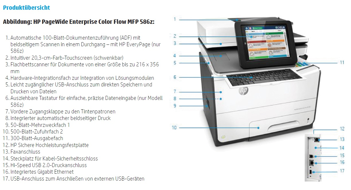 HP PageWide Enterprise Color Flow MFP 586z Produktübersicht
